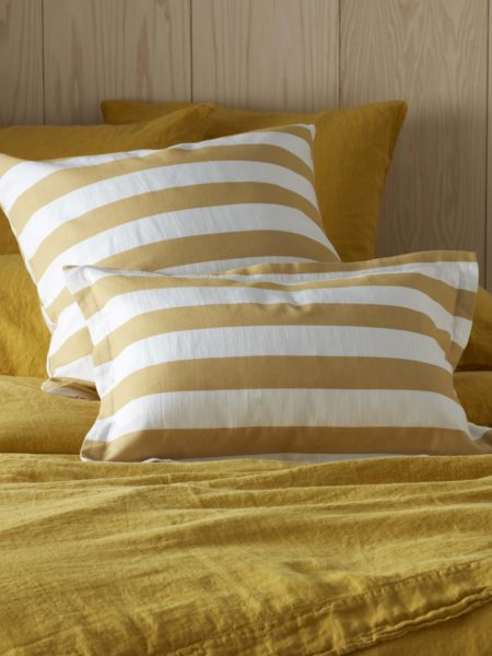 Yellow Big Stripe Cushion Cover