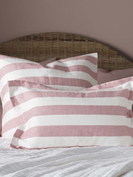Pink Big Stripe Cushion Cover