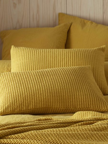 Mustard Yellow Big Waffle Cushion Cover