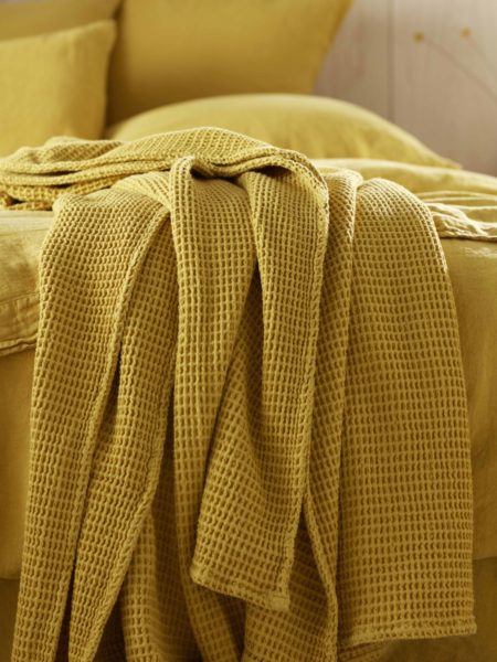 Mustard Yellow Big Waffle Bed Throw and Cushion Cover