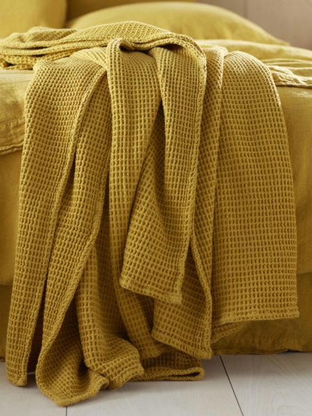 Mustard Yellow Big Waffle Bed Throw