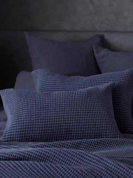 Navy Blue Big Waffle Cushion Cover