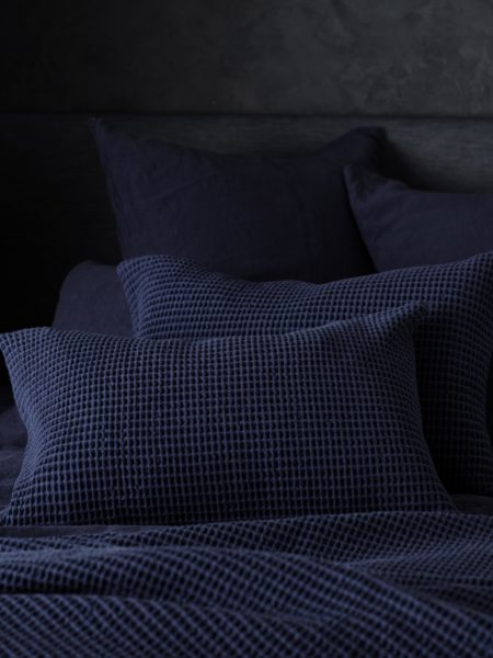 Navy Blue Big Waffle Cushion Cover