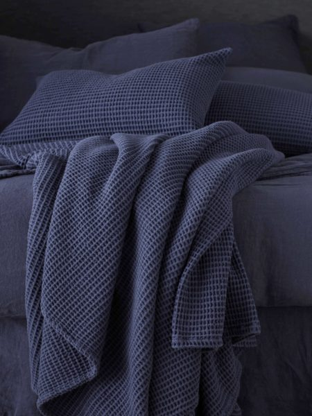 Navy Blue Big Waffle Bed Throw and Cushion Cover