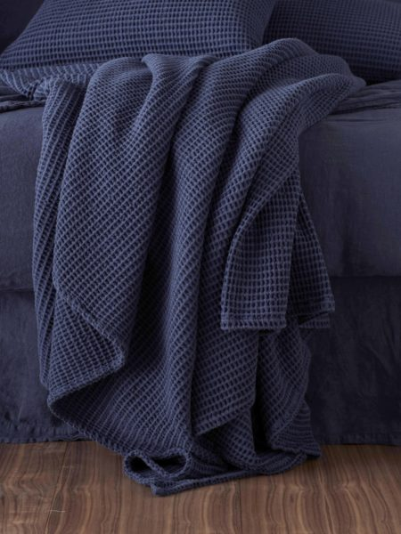Navy Blue Big Waffle Bed Throw