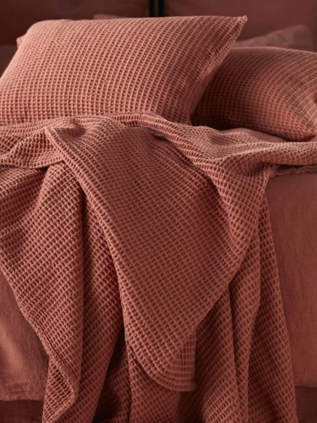 Spice Big Waffle Bed Throw and Cushion Cover