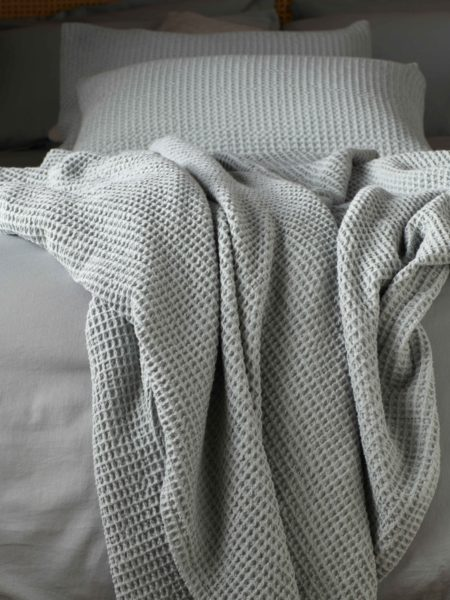 Sage Big Waffle Bed Throw and Cushion Cover