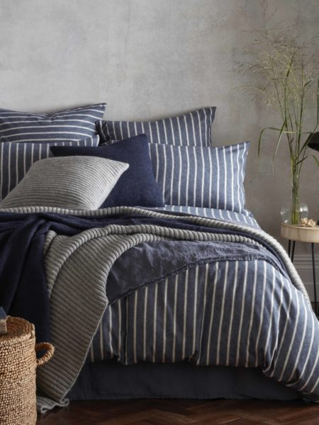 Brushed Cotton Ticking Stripe French Blue Bed Linen