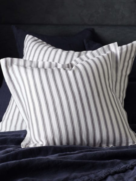 Aubergine French Ticking Stripe Cushion Cover