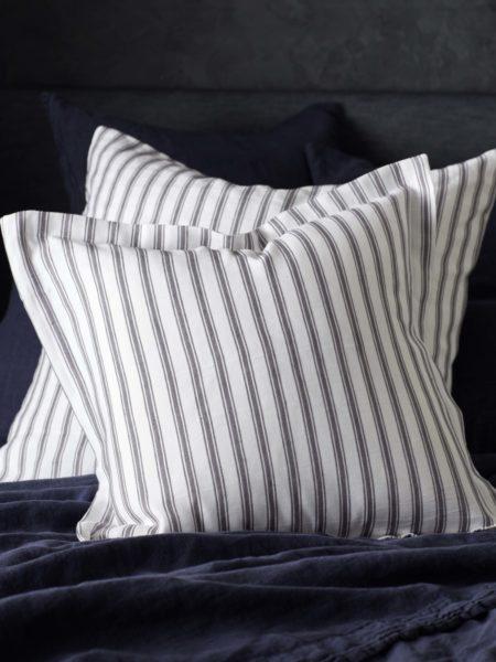 Aubergine French Ticking Stripe Cushion Cover
