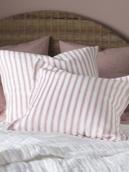 Pink French Ticking Stripe Cushion Cover