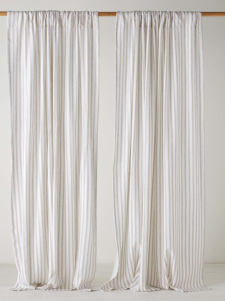 French Ticking Stripe Natural Loop Top Curtain (Single)