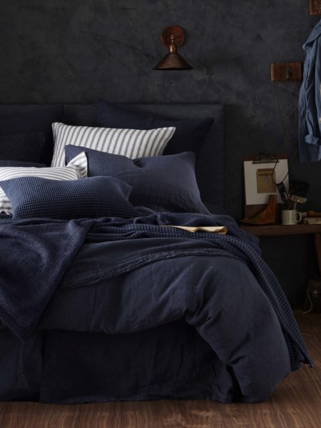 Navy Blue 100% Linen Bed Linen