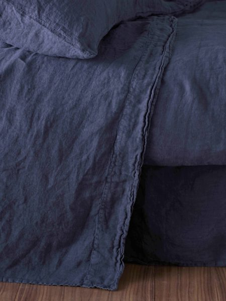 Navy Blue 100% Linen Flat Sheet