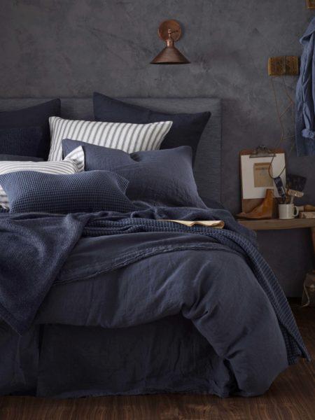 Navy Blue 100% Linen Bed Linen