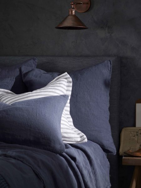 Navy Blue 100% Linen Pillowcase