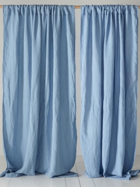 Powder Blue 100% Linen Loop Top Curtains (Single)