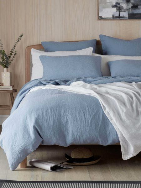 Powder Blue 100% Linen Bed Linen
