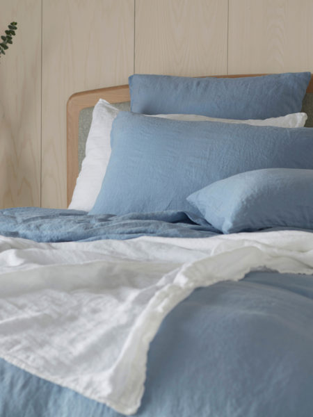 Powder Blue 100% Linen Pillowcase