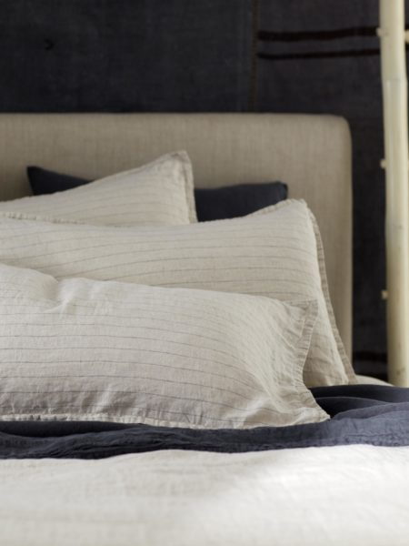 Natural Stripe 100% Linen Pillowcase