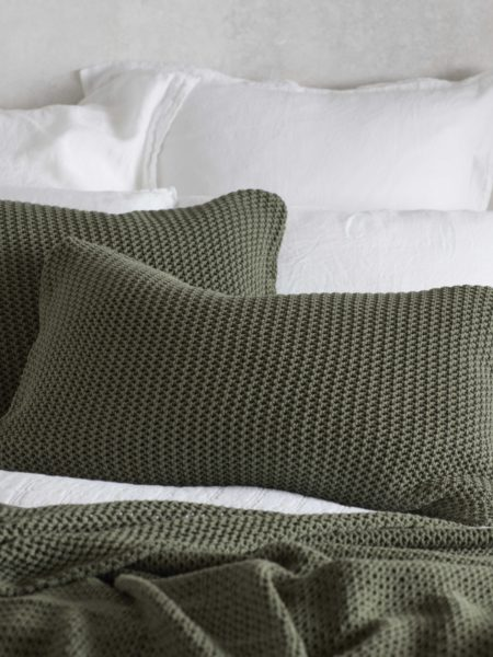 Knitted Olive Green Cotton Cushion Cover