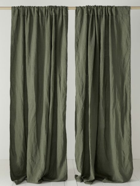 Olive Green 100% Linen Loop Top Curtain (Single)