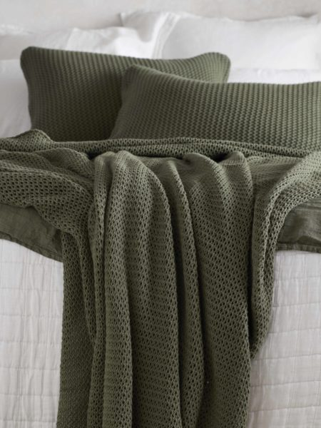 Knitted Olive Green Cotton Bed Throw and Cushion Cover