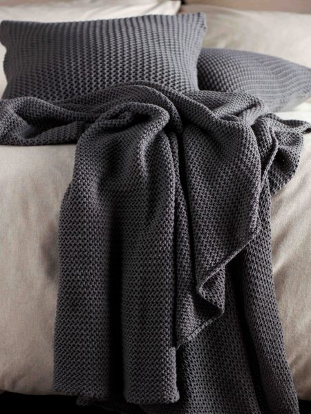 Pewter Grey Cotton Knitted Cushion Cover and Throw