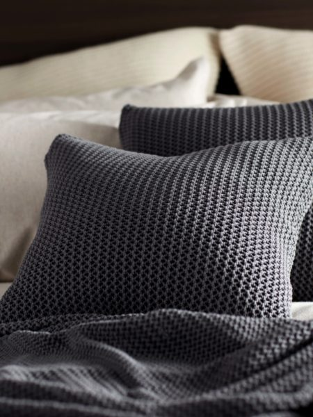 Pewter Grey Cotton Knitted Cushion Cover