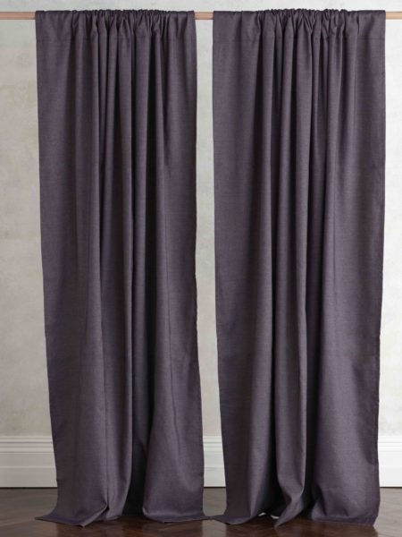 Plum Cotton Linen Loop Top Curtain (Single)