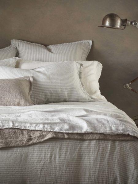 Sage Stripe 100% Linen Bed Linen