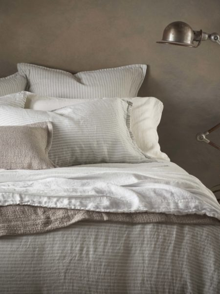 Sage Stripe 100% Linen Bed Linen