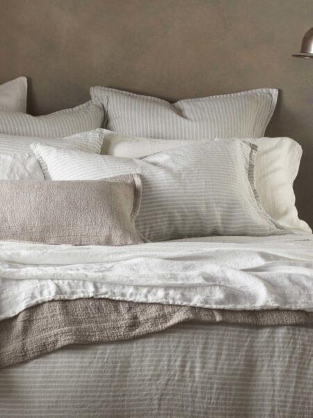 Sage Stripe 100% Linen Duvet Cover