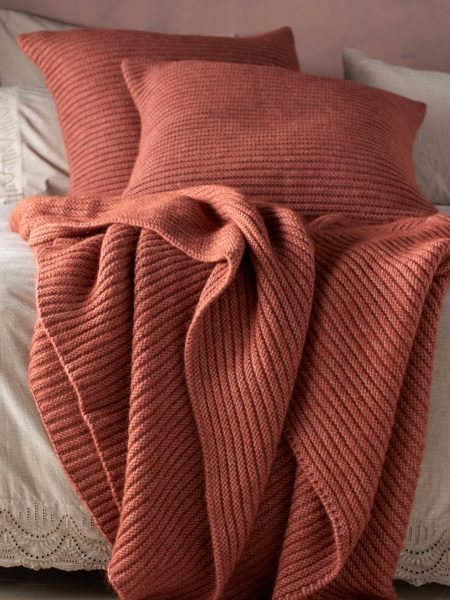 Spice Marl Knitted Cushion Cover and Throw