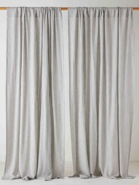 Ticking Stripe Grey Loop Top Curtain (Single)