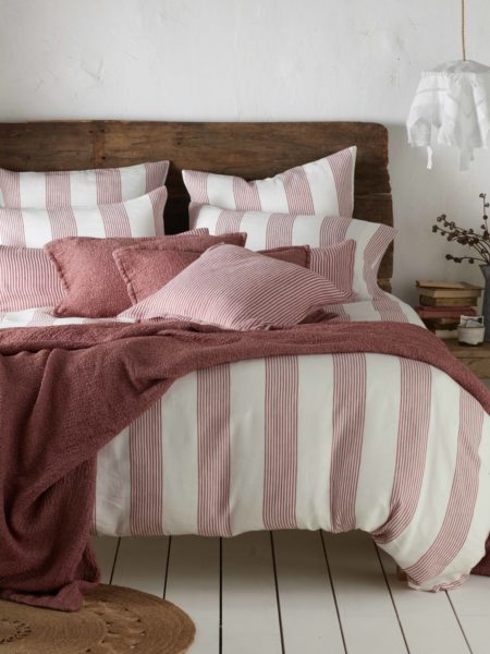 Ticking Stripe Red Duvet Cover
