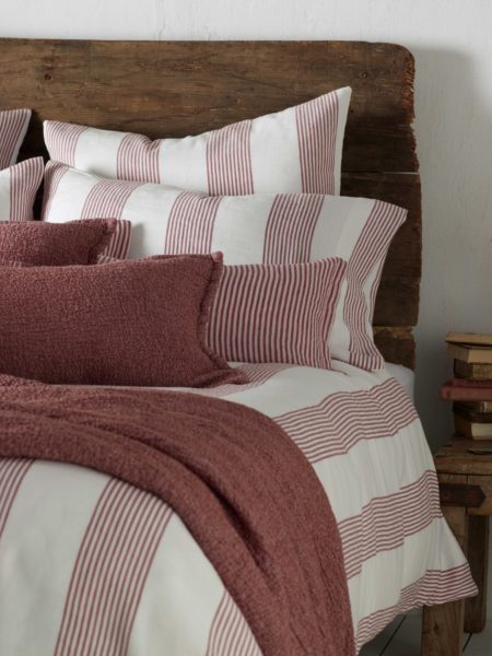 Ticking Stripe Red Pillowcase