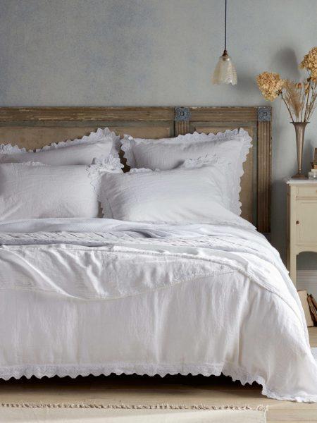 Violet White 100% Linen Bed Linen