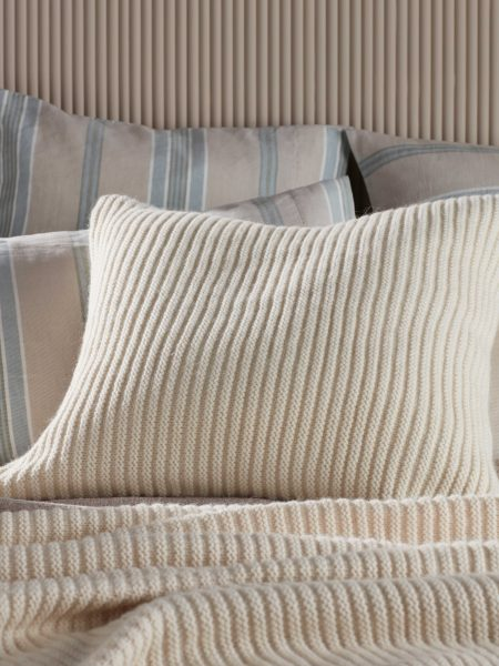 Winter White Marl Knitted Cushion Cover