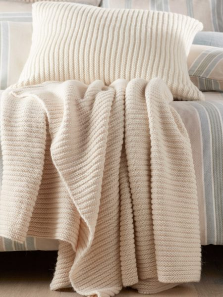 Winter White Marl Knitted Throw and Cushion