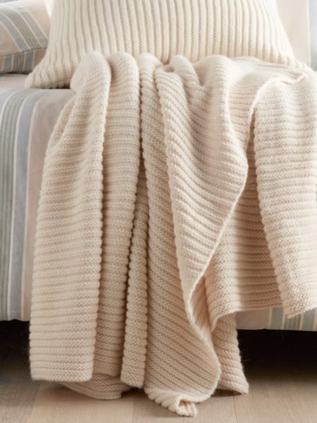 Winter White Marl Knitted Throw