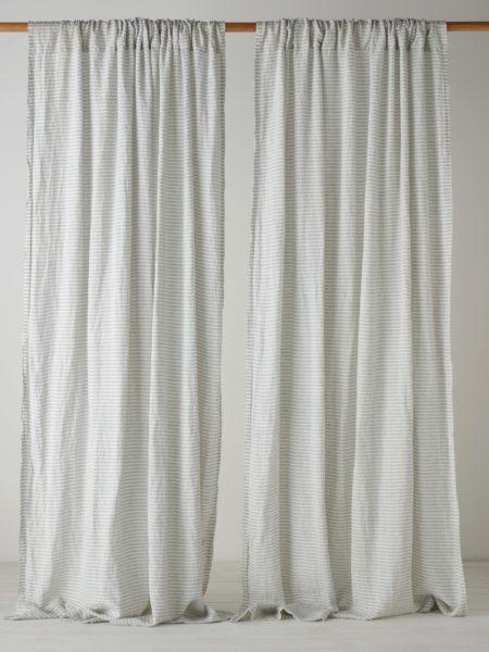 Sage Stripe 100% Linen Loop Top Curtain (Single)