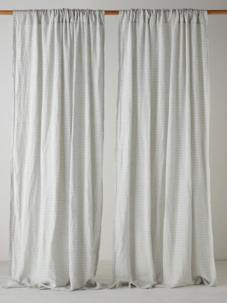 Sage Stripe 100% Linen Loop Top Curtain (Single)