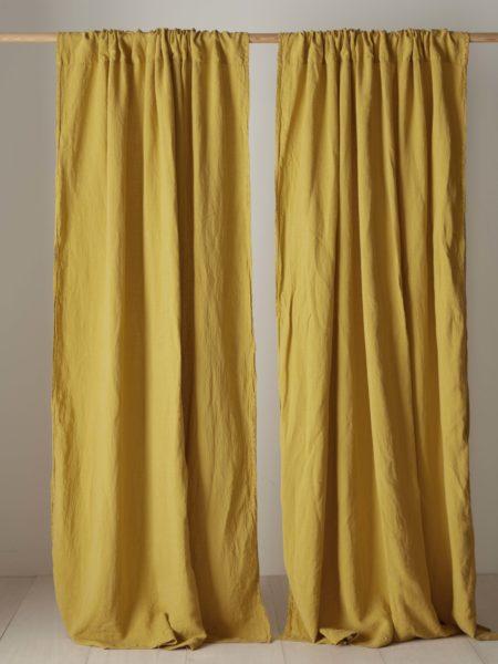 Mustard 100% Linen Loop Top Curtain (Single)
