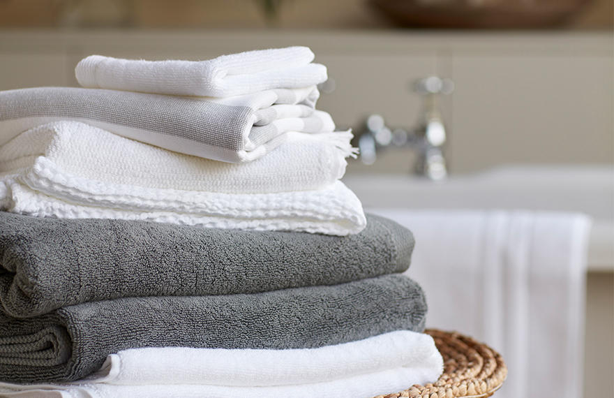 Stack of Different Types of Bath Towels