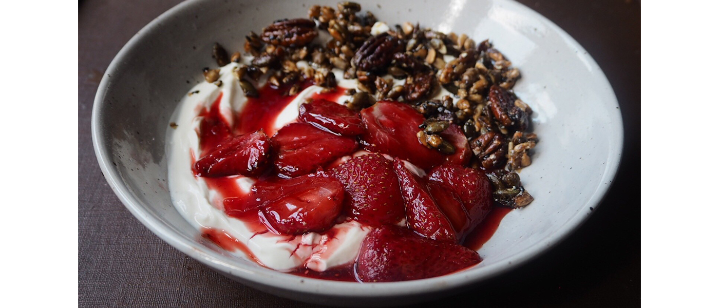 Lemon Roasted Strawberries with Seeds and Greek Yoghurt